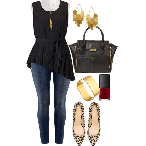 LOVE this outfit on Polyvore! Skinny jeans in a dark rinse, asymmetrical black tank, statement bag and jewelry, and WOO those shoes! #plussize #fashion