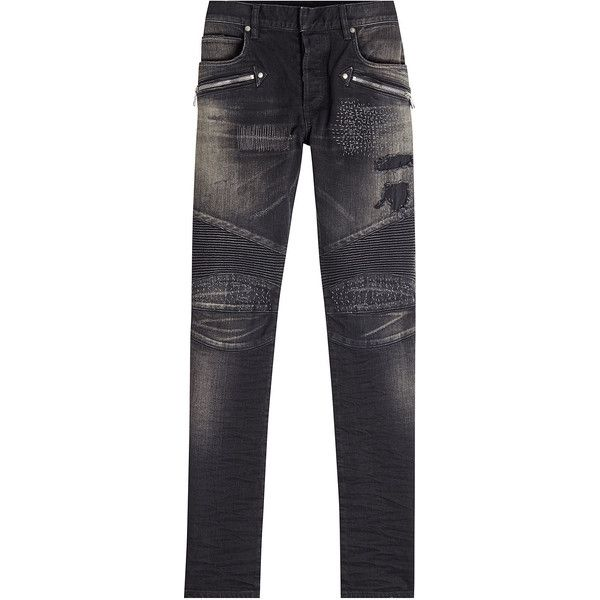 Balmain Biker Jeans ($1,525) ❤ liked on Polyvore featuring men's fashion, men's clothing, men's jeans, black, mens torn jeans, mens ripped skinny jeans, mens destroyed jeans, mens biker denim jeans and mens super skinny ripped jeans