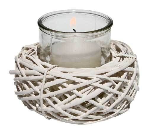 White Rattan Votive candle Holder - Lifestyle Home and Living