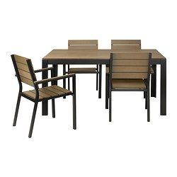 FALSTER table and 4 chairs with armrests, brown, black