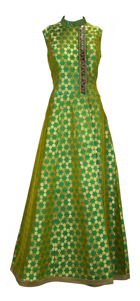 Mint Brocade Suit with Mirror Work – LuxShoppe.com