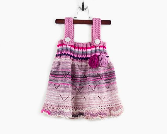 Knitted Girl Dress  Pink Lavender Tones 1  2 by SasasHandcrafts