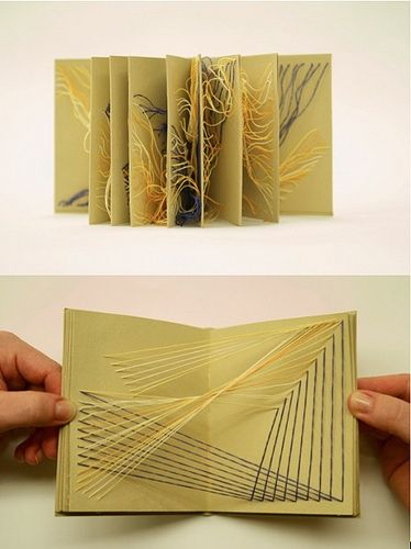 PULL by Kate Callan. paper, string  4″ x 4″  Pull contains eight explorations of string formations when fully open. Some strings continue through the pages making it impossible to view more than one page at a time.