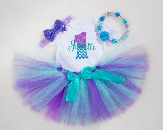 Traje de cumpleaños primer sirena | Sirenita 1 traje de cumpleaños para las muchachas del bebé | En el cumpleaños de mar | Traje de Sirena personalizados