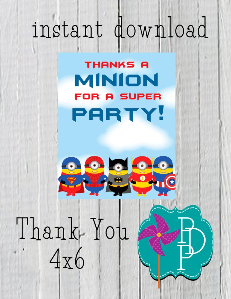Super Minion Thank you Card -4x6-instant download by PolkaDotPinwheel on Etsy https://www.etsy.com/listing/191477537/super-minion-thank-you-card-4x6-instant