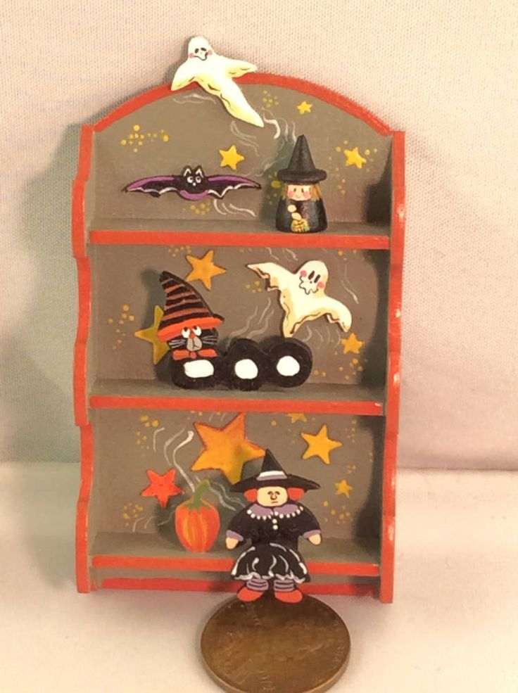 artisan dollhouse miniature halloween shelf decorations by karen markland - Miniature Halloween Decorations