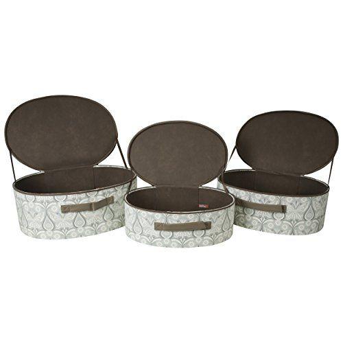 Oval Lidded Storage Boxes (Set Of