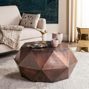 Safavieh Astrid Faceted Copper Coffee Table-FOX3223B - The Home Depot