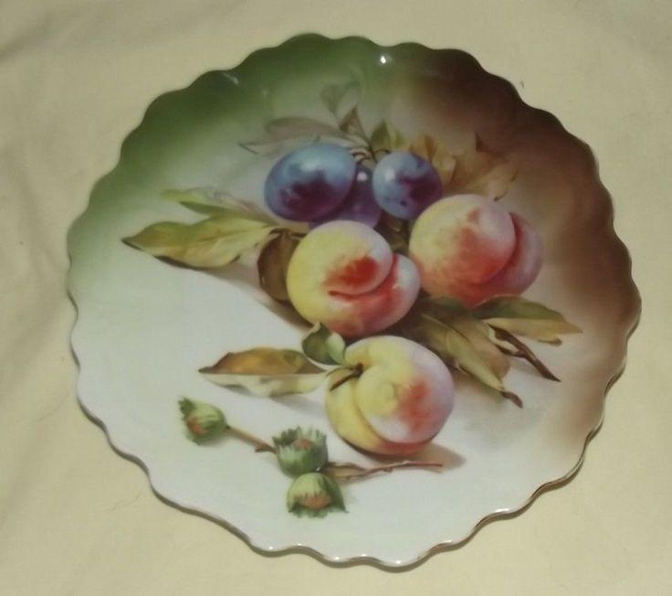 Bavarian Painted Antique Plate Fruit Decoration