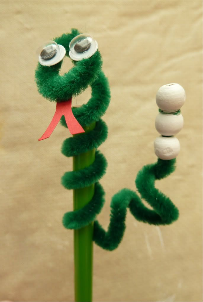 Year of the Snake--pipe cleaner snake pencil topper