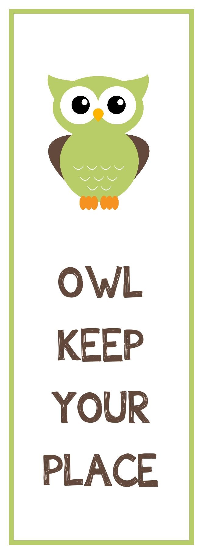 Green Owl - free printable bookmark in various colourways.