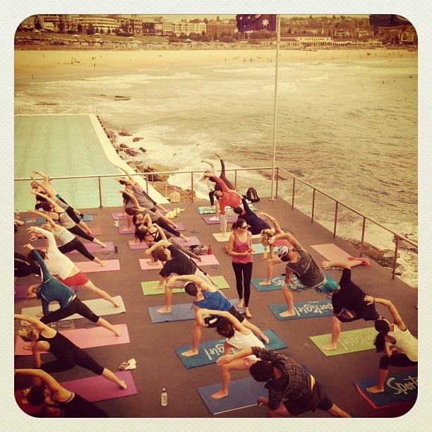 Yoga by the Sea at Bondi Beach #yoga #atbondi #bondi #health #sydney #sea #view #australia #fitness #lifestyle