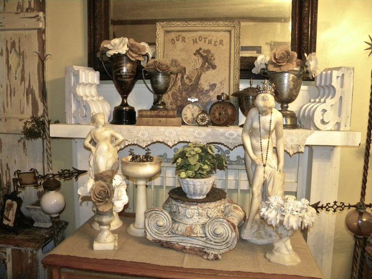Antique Alabaster Statues/Vintage Loving Cup Trophys'
