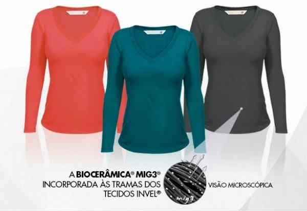 A camiseta conta com recursos que proporcionam relaxamento muscular e alívio das dores lombares