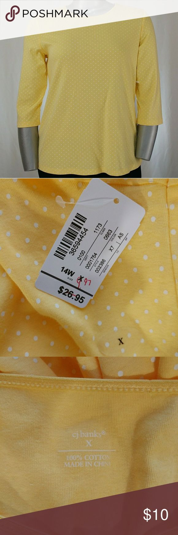 "CJ Banks Yellow Polka Dot Shirt, 14W New with tags! Yellow w/white polka-dots, 3/4 sleeve, boat neck, cotton shirt.   100% cotton.   27"" length, 44"" bust. (All measurements are approximate.)   Size 14W by CJ Banks. CJ Banks Tops Tees - Short Sleeve"