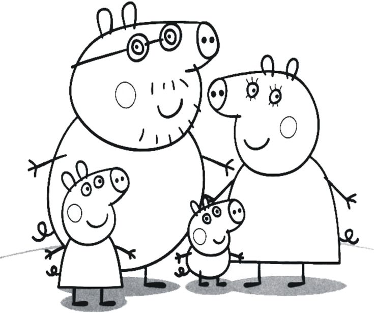 Group Of Cartoon Peppa Pig Colorir