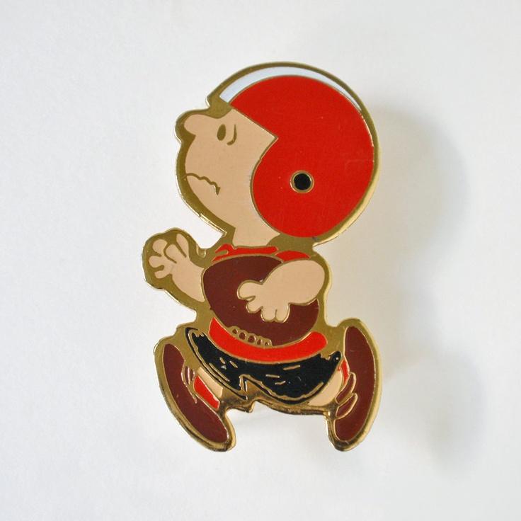 Vintage Charlie Brown Football Pin Brooch.