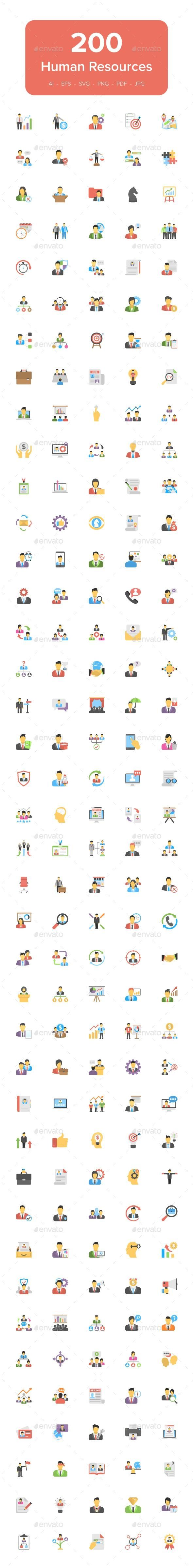 200 Human Resource Flat Icons GraphicRiver icon