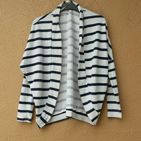 Nautical cardigan Super cute nautical cardigan blue and tan stipes. Great condition. Will also fit a medium. Forever 21 Sweaters Cardigans