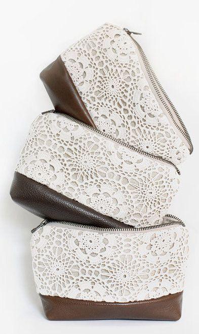 Leather bag make up bag travel case stripe tribal. lace