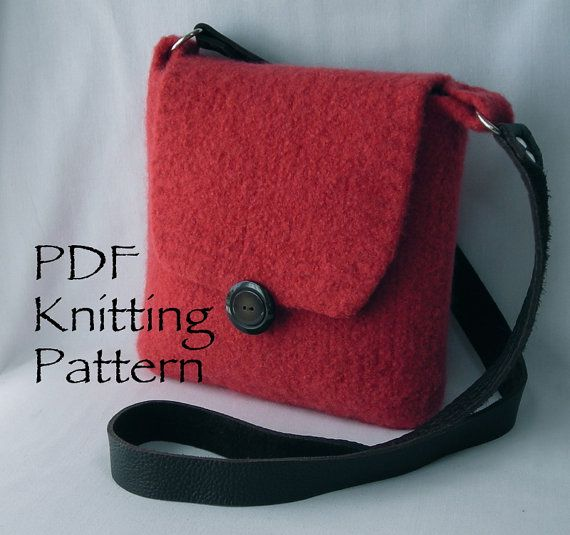 Felted Hipster Bags - Knitting Pattern PDF - hand knit felted wool - shoulder…