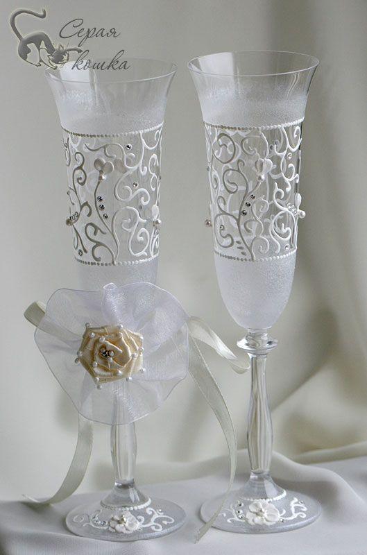 verres de mariage peintes avec leurs mains                                                                                                                                                     Plus