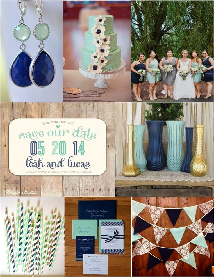 Pink Cupcake Weddings: Navy and Mint Color Inspiration