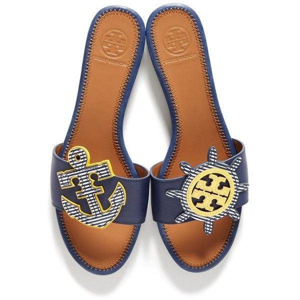 Women's Tory Burch Maritime Slide Sandal (667.980 COP) ❤ liked on Polyvore featuring shoes, sandals, navy sea, stripe shoes, navy blue sandals, navy sandals, anchor shoes and tory burch