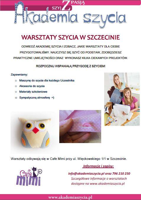 Zapraszamy na warsztaty szycia w Szczecinie - nauka od podstaw, każdy Uczestnik posiada maszynę do dyspozycji, ciekawe projekty do wykonania.