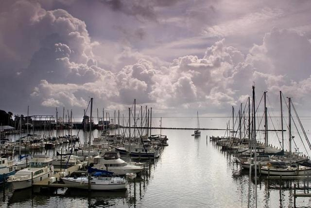 Beautiful North Carolina Inner Banks - Clouds over Pamlico Sound; view from Oriental bridge #6109 photo is by Joel Arrington.
