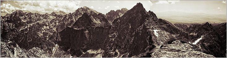 na Rysach... - widok na Tatry: panorama z Rysów #Tatry #Rysy #góry #panorama