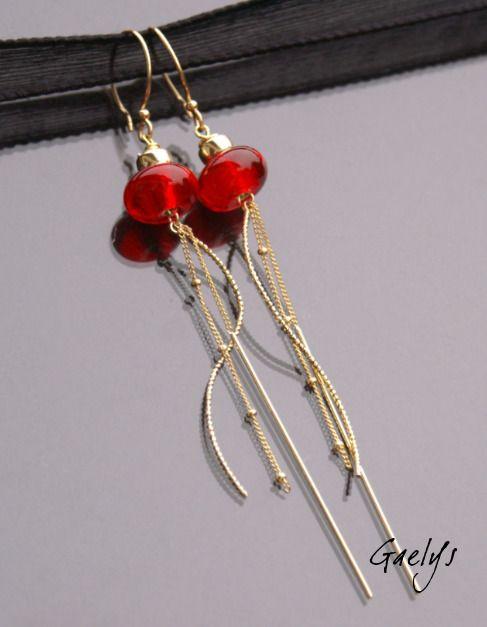 River - fülbevalók gyöngyök átlátszó piros gyűrű - arany iktatott - bo gaelys: Fülbevaló által gaelys