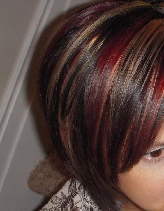 Red Highlights For Dark Hair | ... red and blond highlights on
