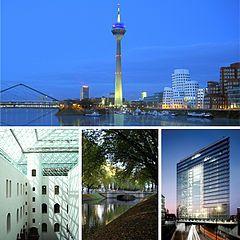 Top: Düsseldorf-HafenBottom row from left: Ständehaus of Kunstsammlung Nordrhein-Westfalen, Königsallee and Stadttor