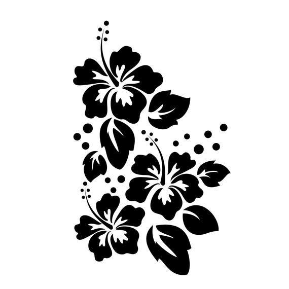 c58c74758d Large Hibiscus Flowers Pattern Wall Decal Custom Vinyl Art | Etsy ...