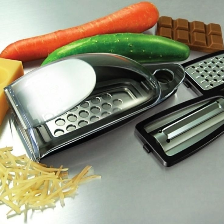 Compact Cheese Shredder, Slicer & Grater Set W/ Stainless ...
