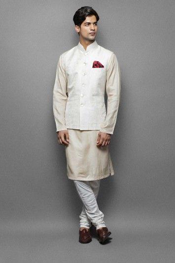 Gold silk kurta with waistcoat