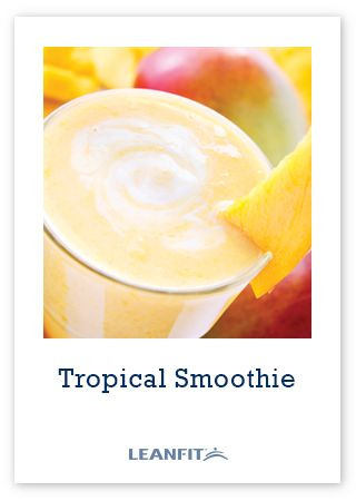 Tropical Smoothie made with LeanFit completegreen, a vegan plant-based protein powder.