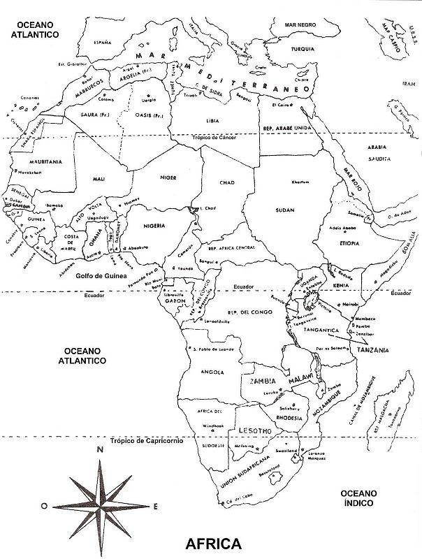 Colorea Tus Dibujos Mapa De Africa Con Nombres Para Colorear Con