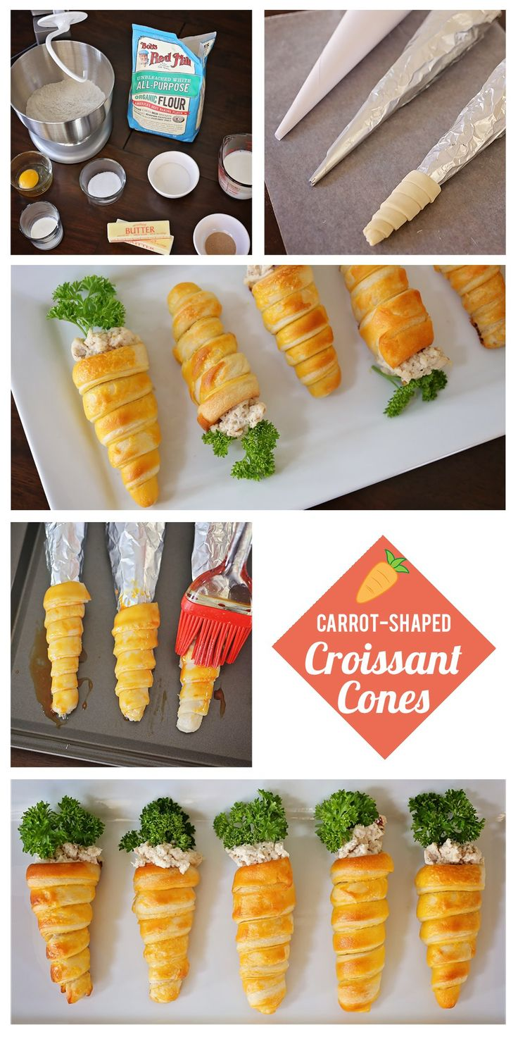 Adorable Carrot-Shaped Croissant Cones for Easter | Easter Themed Appetizer