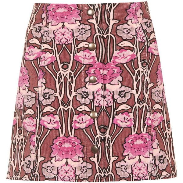 TOPSHOP Rose Print Cord A-Line Skirt found on Polyvore featuring polyvore, fashion, clothing, skirts, topshop, multi, floral a line skirt, floral print skirt, a line skirt and flower print skirt