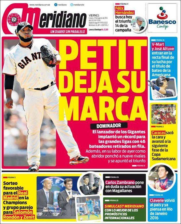 Portada Diario @MeridianoWeb Viernes 28/08/2014 #Titulares #Noticias #Prensa #PrimeraPagina #DesayunoInformativo