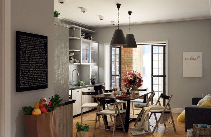 Дизайн кухни – образец интерьеров в нью-йоркском стиле: архитекторы оставили кирпичные стены, добавили индустриальные аксессуары и установили окна в пол с потрясающим видом на город