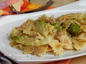 farfalle con tonno e broccolo primo leggero e goloso facile e veloce da fare. ricetta primo con cavolfiore e tonno, ricetta per pasta bianca gustosa