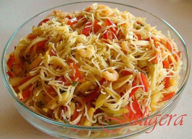 Азиатский салат из лапши с креветками ингредиенты
