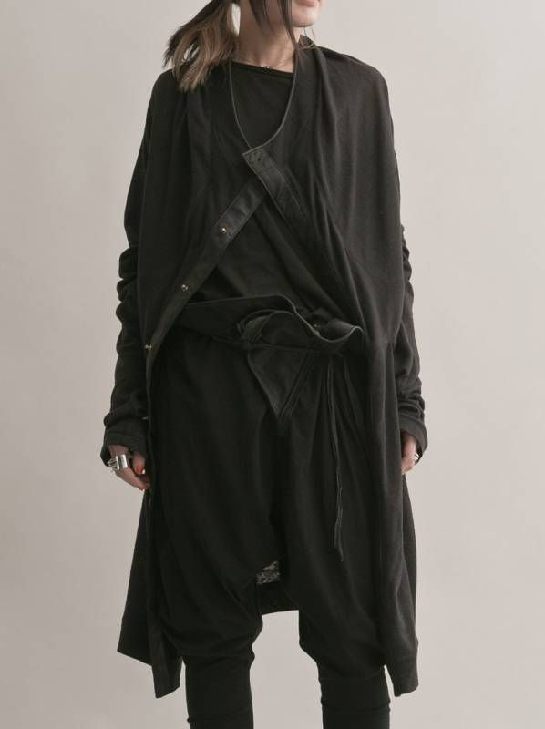 Tsolo Munkh<br />Leather X Linen long coat - 24TH OF AUGUST / Shim Limited Design Inc