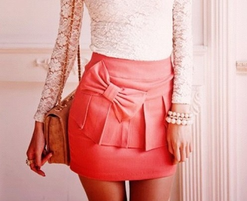 <3: Outfits, Lace Tops, Style, Colors, Bows Skirts, Pink Bows, Lace Bows, Lace Shirts, Cute Skirts