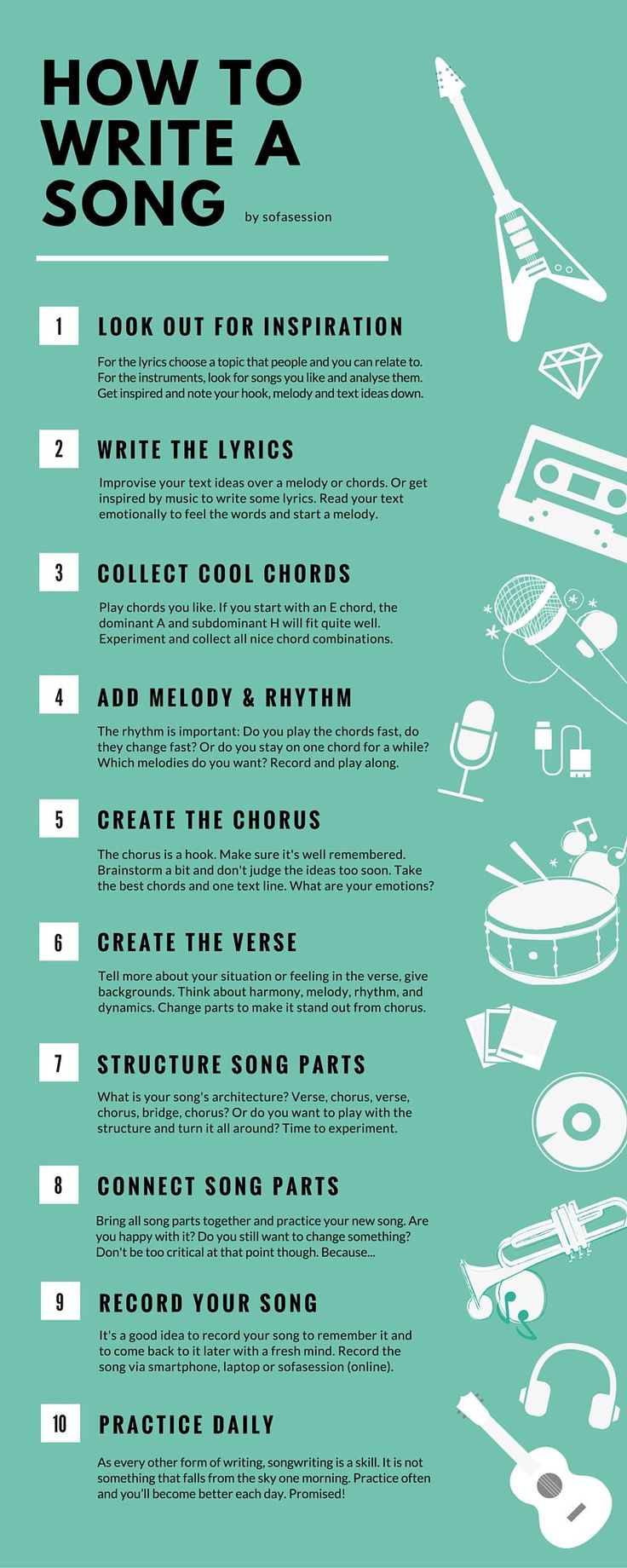 Best 25 writing songs ideas on pinterest how to write songs how to write a song in 10 steps as a beginner the infographic shows you hexwebz Choice Image