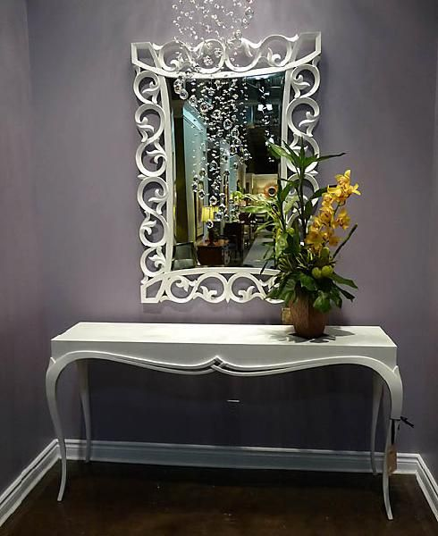 eliware: Christopher Guy mirror and console love.  white ornate mirror, console table and purple ...