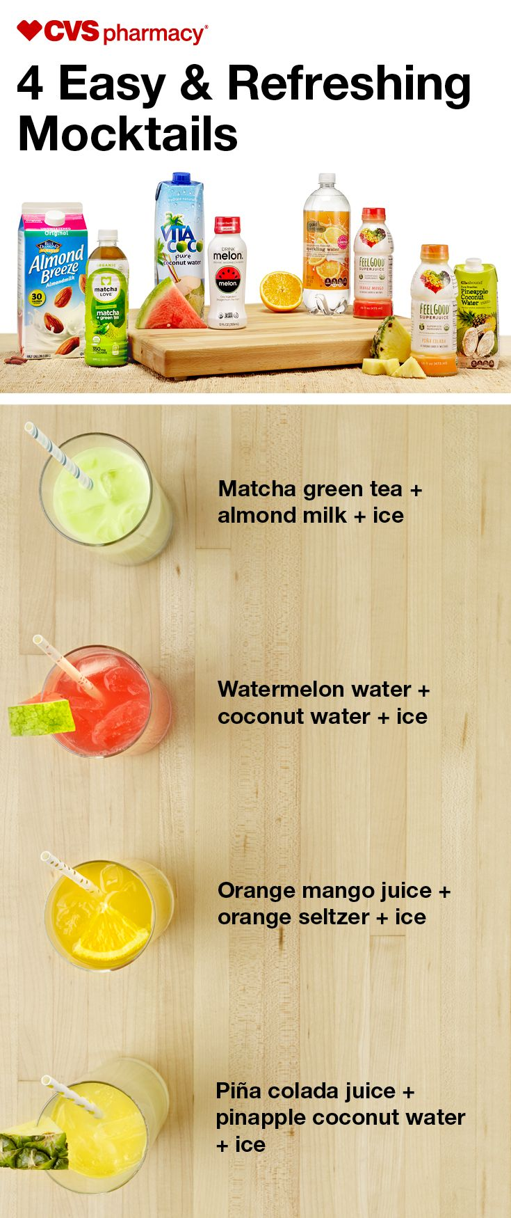 Plan for a delicious DIY delight with these summer drink recipes. Powerhouse ingredients lead to big flavor and guilt-free refreshment. Here are four easy mocktails to serve up this summer (or season)!
